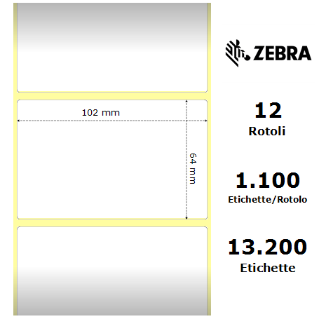 800264-255 - Etichette Zebra  Z-2000D F.to 102x64mm - Confezione da 12 Rotoli